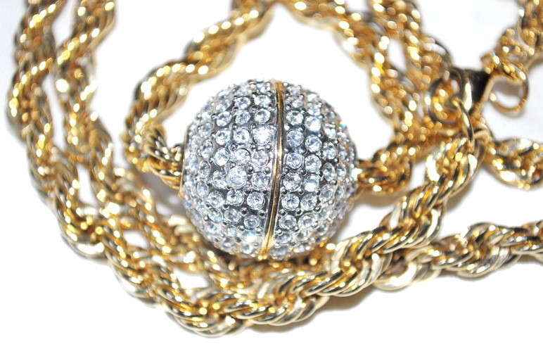 Vintage Butler Ball of Fire Necklace Swarovski Crystal Gold Plated Chain