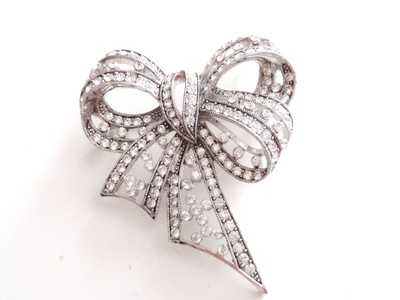 Vintage Large Swarovski Crystal Bow Brooch