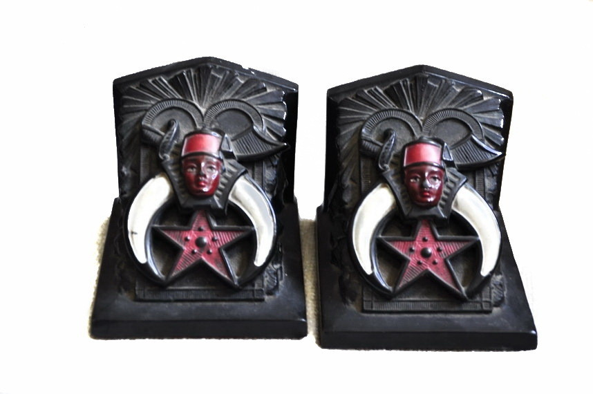 Art Deco Ronson Polychromed Masonic Lodge Fraternity Bookends