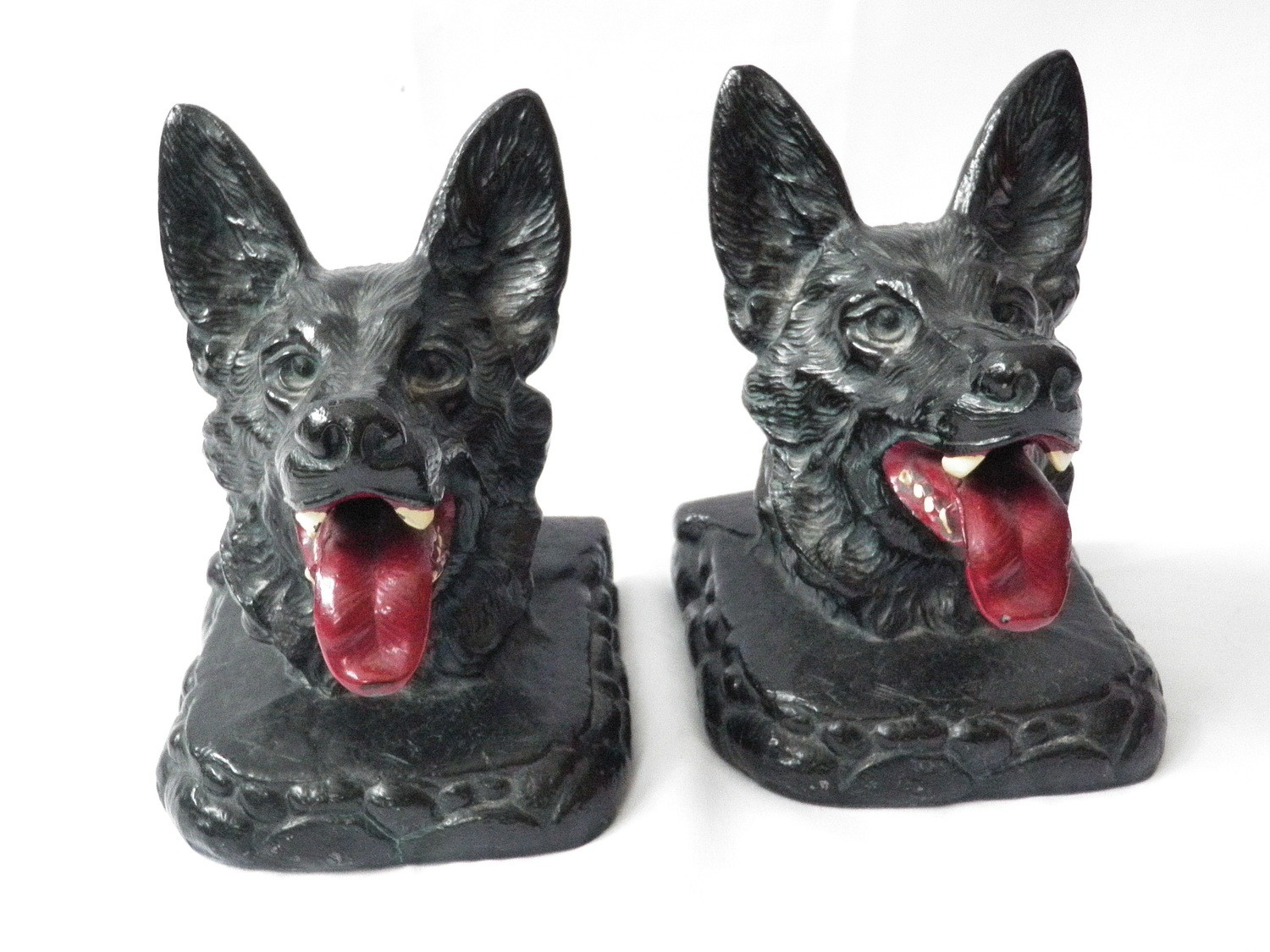 Art Deco Ronson 1929 German Sheppard Bookends Polychrome Paint