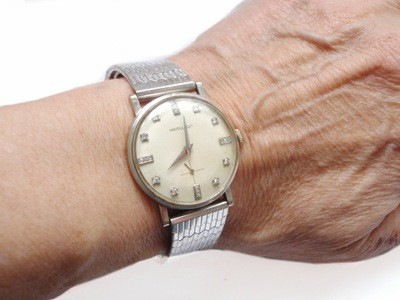 Mid-Century Hamilton Solid 14k White Gold Diamond Dial Watch 1950's Stainless Steel Flex Band