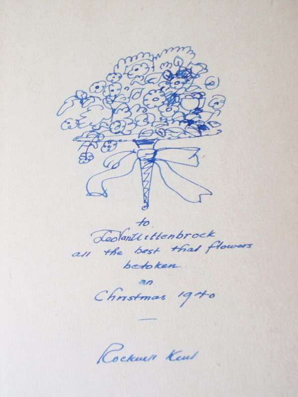 Signed Rockwell Kent 'On My Own' Book Flower Bouquet Sketch