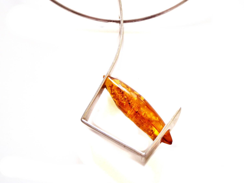 Modernist Butterscotch Baltic Amber Pendant Wearable Art