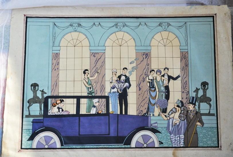 Georges Barbier Watercolor Painting Art Deco Paris Style