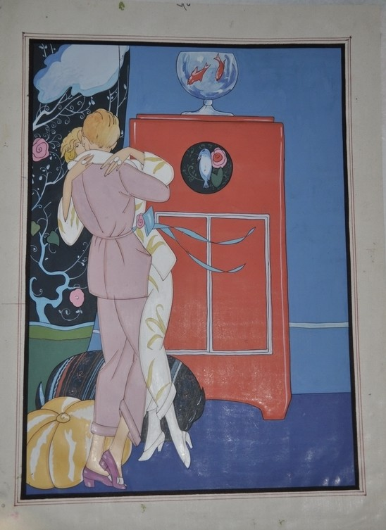 Art Deco Georges Barbier Lesbian Boudoir Watercolor Painting