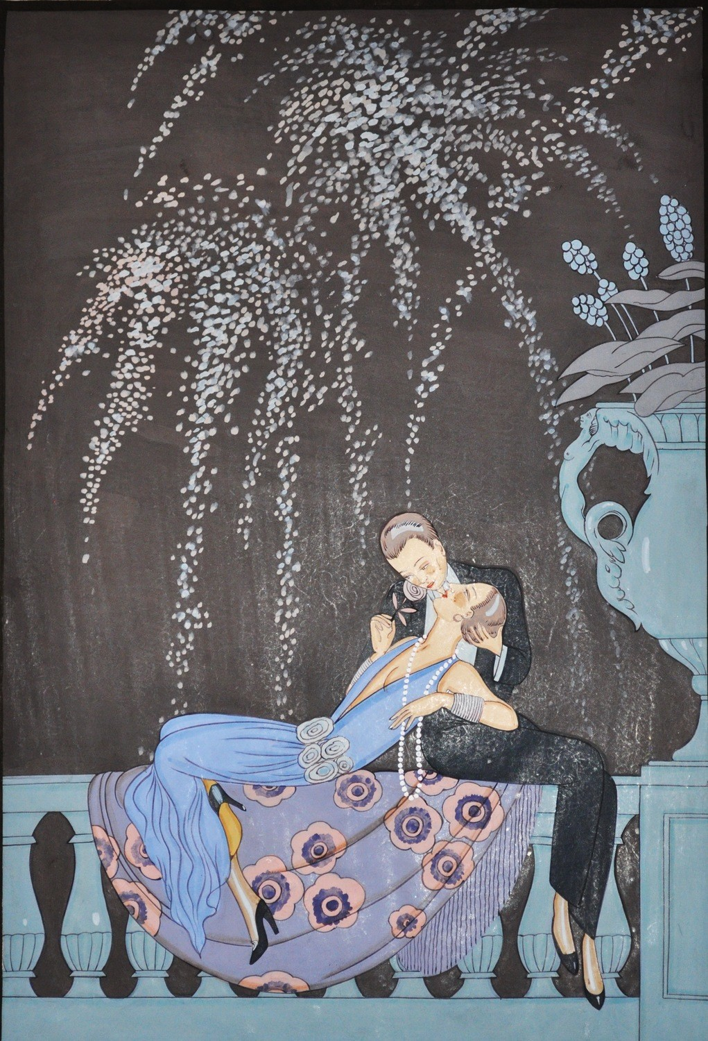 Art Deco Georges Barbier Romantic Couple Fireworks Watercolor