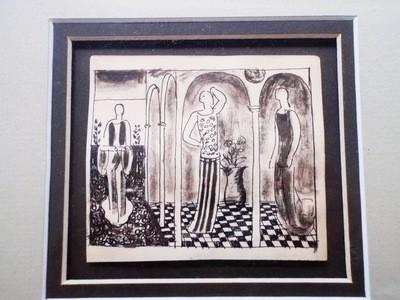 Framed Art Deco Edward Buk Ulreich Flappers Painting Listed Artist