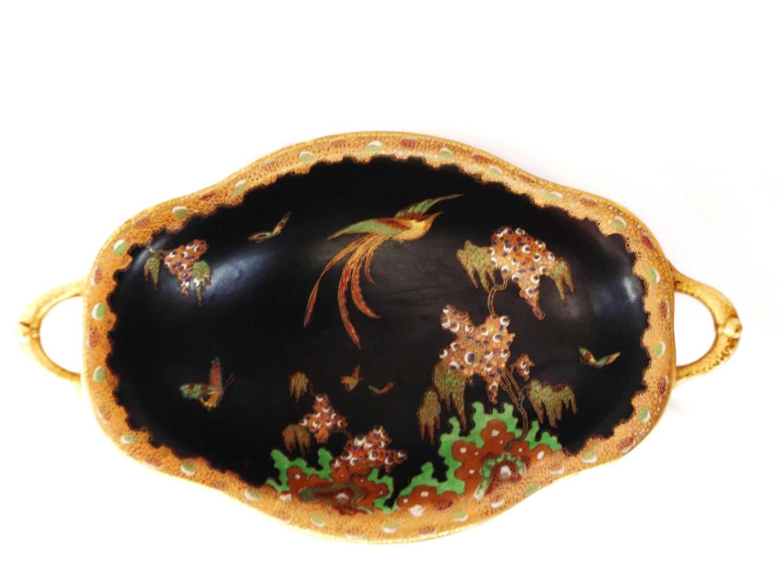 Art Deco W & R Carlton Ware Black Revo Paradise Bird Fruit Bowl
