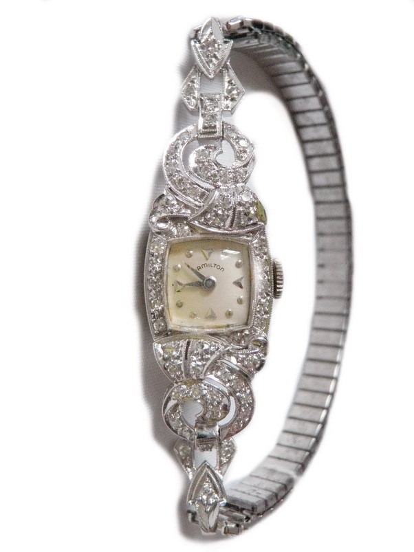 Vintage Lady Hamilton Manual Wind Platinum Diamond Watch