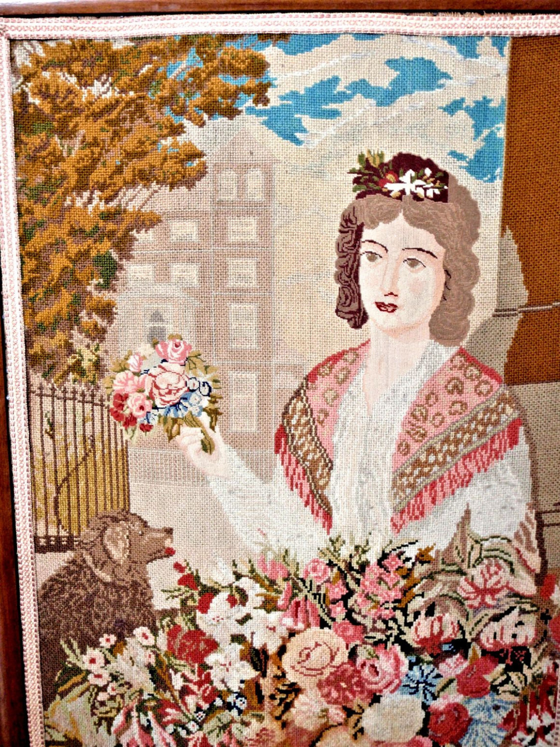 1860's British Tapestry Firescreen Petite Needlepoint of Lady, Spaniel and Lush Garden
