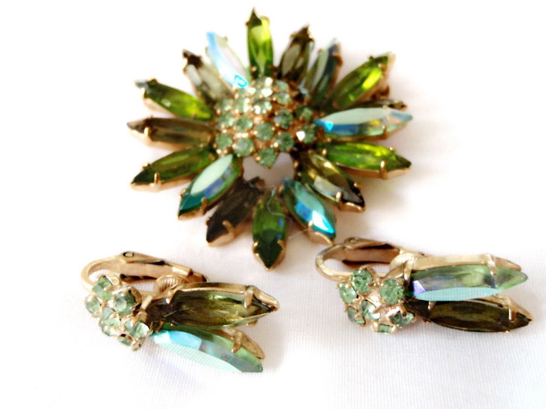 Julianna Demi-Parure Figural Brooch and Earrings Bold Greens and Blues