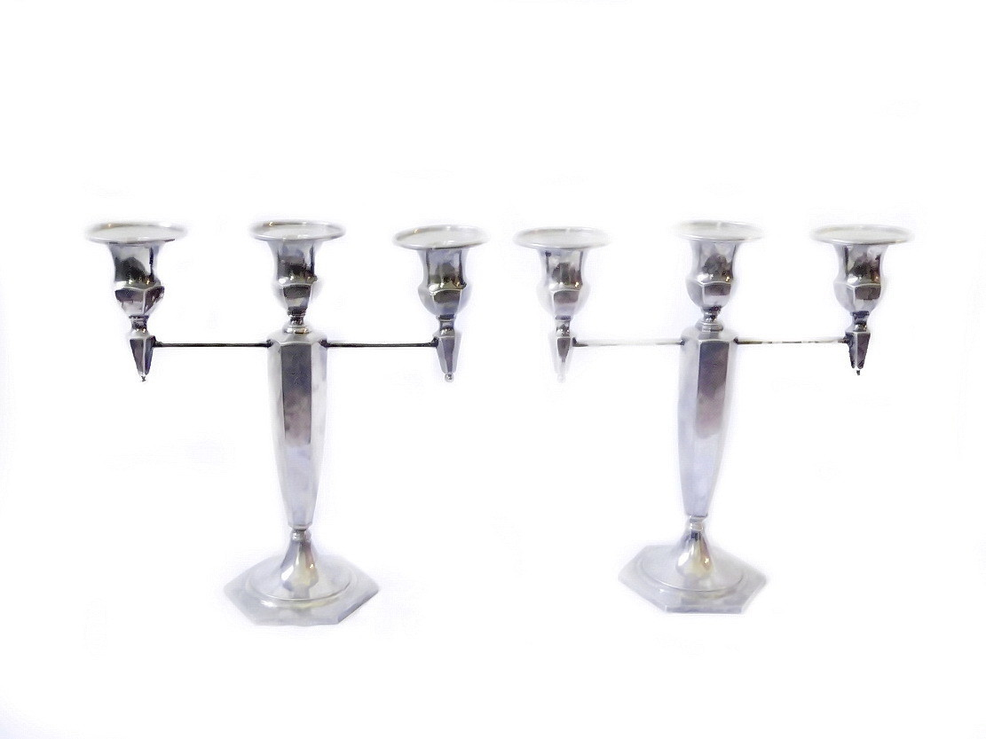 2 Wilcox Arts and Crafts with an Art Deco Silverplate Triple Candelabra
