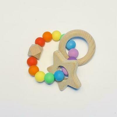 Silicone + Beechwood Teether - Rainbow