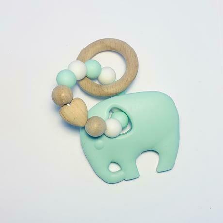 Silicone + Beechwood Teether - Elephant Mint