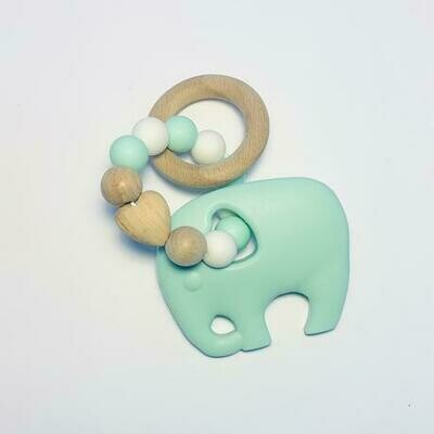 Silicone + Beechwood Teether - Elephant Mint