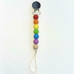 Pacifier + Teether Clip- Silicone with 1 Beechwood Bead Primary