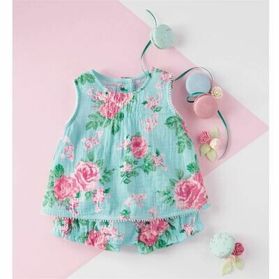 Mud Pie Floral Pinafore & Bloomer Set