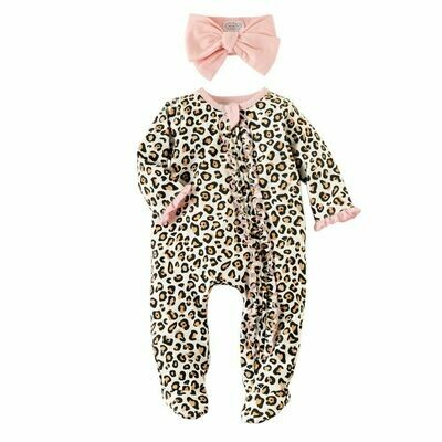 Mud Pie Leopard Footed Sleeper & Headband