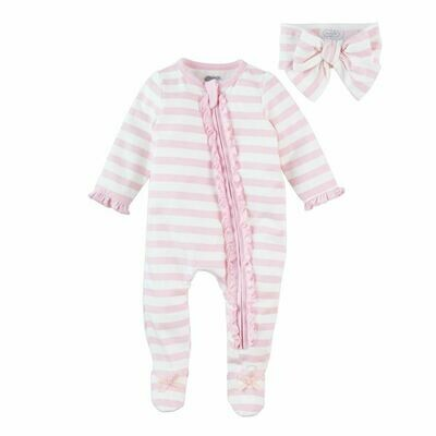 Mud Pie Striped Footed Sleeper & Headband