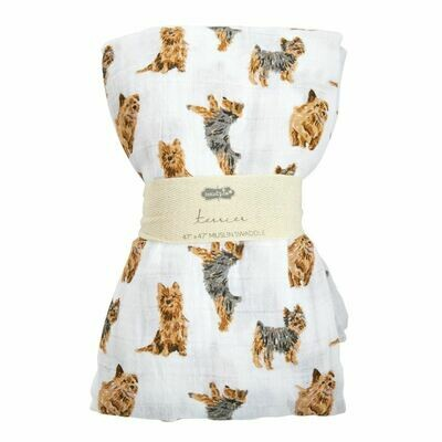 Mud Pie Terrier Muslin Swaddle Blanket