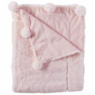 Mud Pie Pink Pom Pom Blanket
