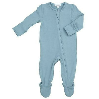 Angel Dear Solid Blue Basic Zipper Footie