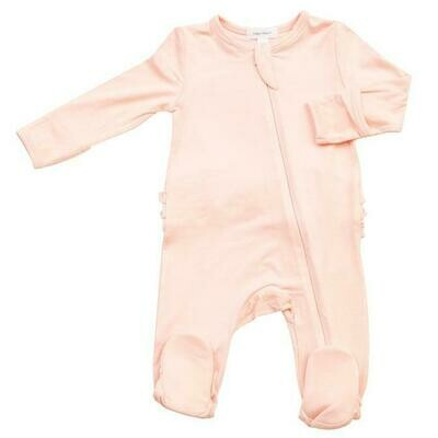 Angel Dear Solid Pink Basics Ruffle Back Zipper Footie