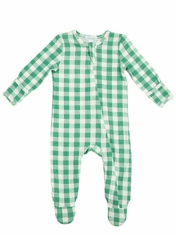 Angel Dear Green Gingham Zipper Footie