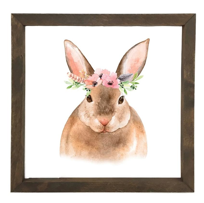 12 Timbers Woodland Wall Art - Rabbit w/flowers