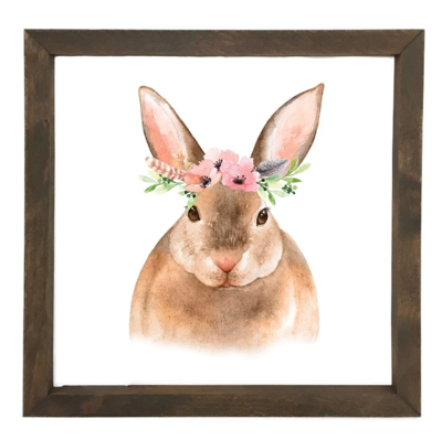 12 Timbers Woodland Wall Art - Rabbit w/flowers