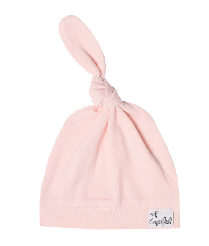 Copper Pearl Top Knot Hat - Blush