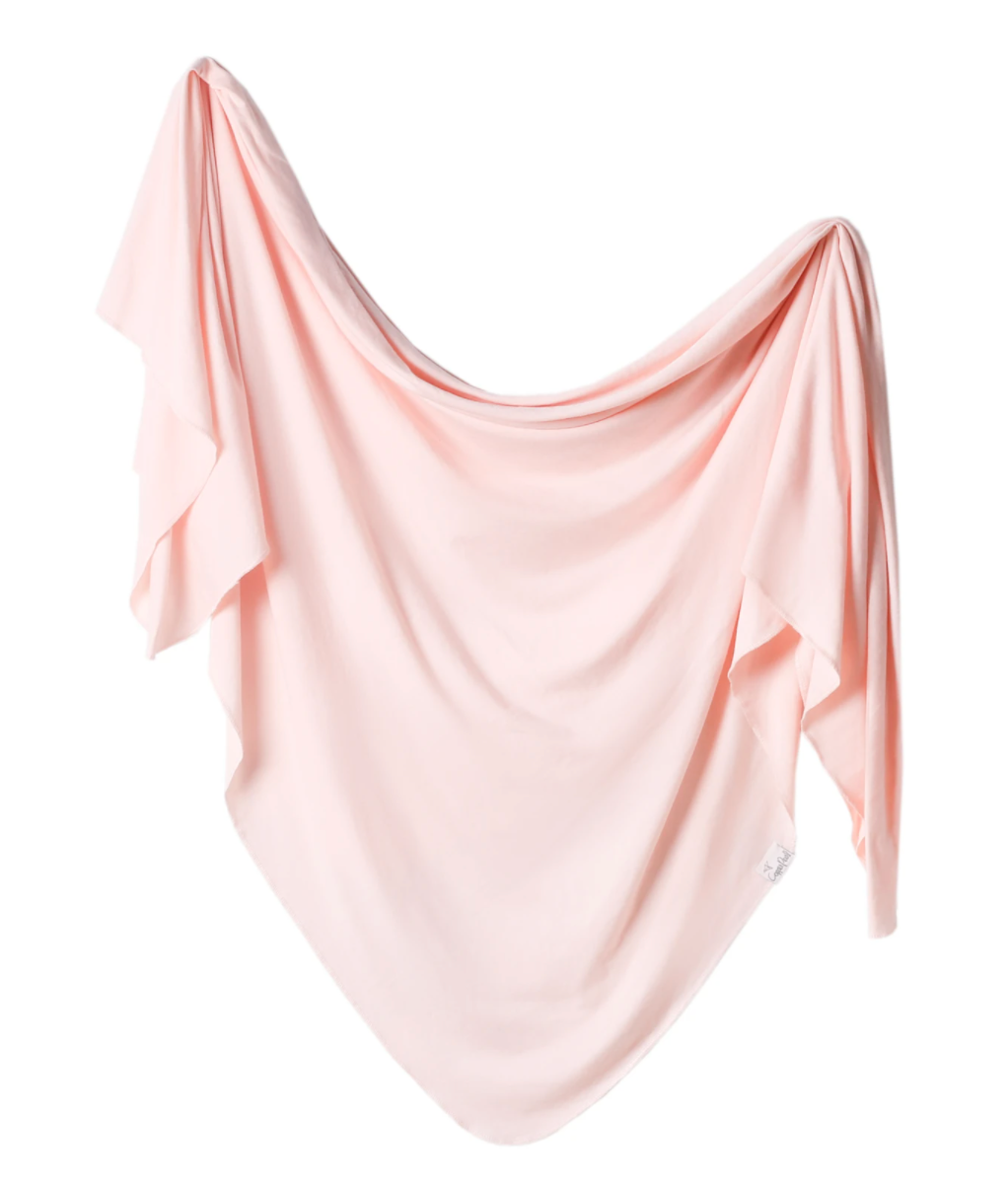 Copper Pearl Knit Swaddle Blanket - Blush