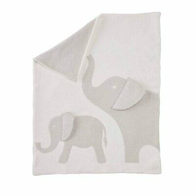 Mud Pie White Elephant Blanket