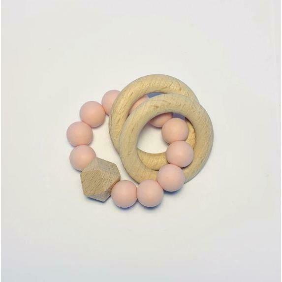 Silicone + Beechwood Teether - 2 ring Blush
