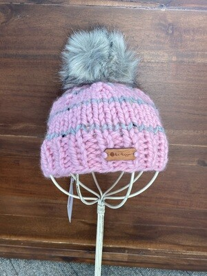 b. e. happe Knit Hat - Blossom/Gray Stripe