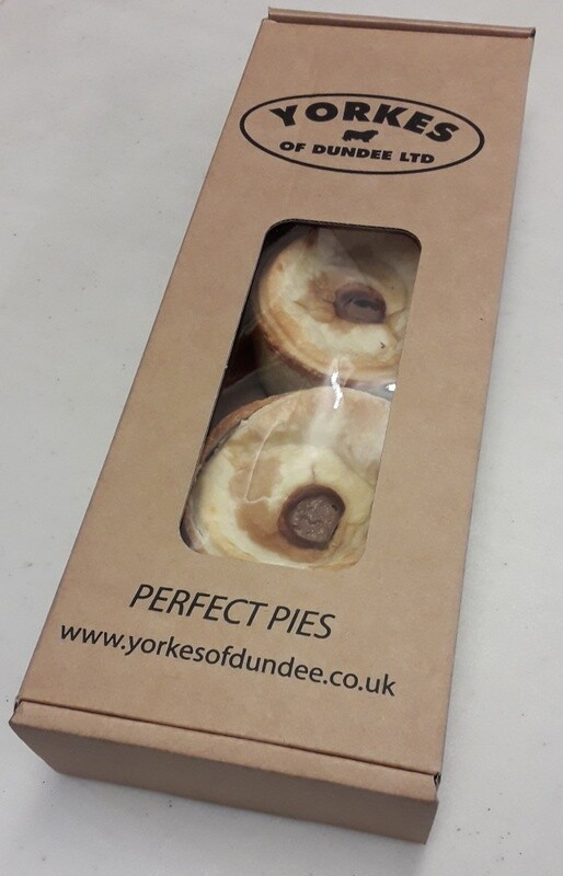 Scotch Pies. Pack of 3 in presentation box. Yorkes of Dundee