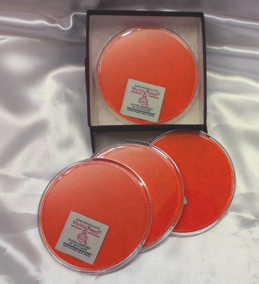 Set of 4 Harris Tweed Coasters - Plain Orange