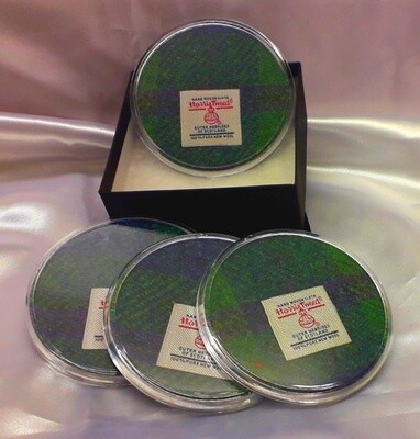 Set of 4 Harris Tweed Coasters - Green Check