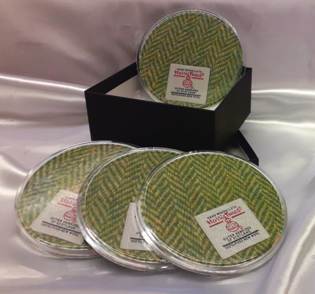 Set of 4 Harris Tweed Coasters - Green Herringbone