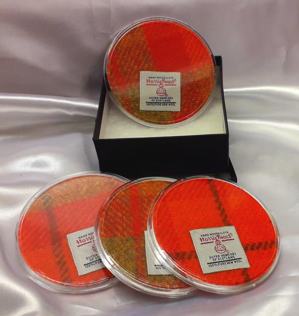 Set of 4 Harris Tweed Coasters - Orange Check