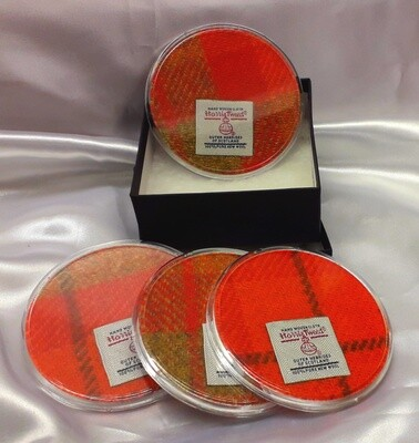 Set of 4 Harris Tweed Coasters - Orange Check