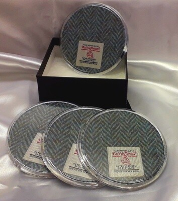 Set of 4 Harris Tweed Coasters - Grey Herringbone