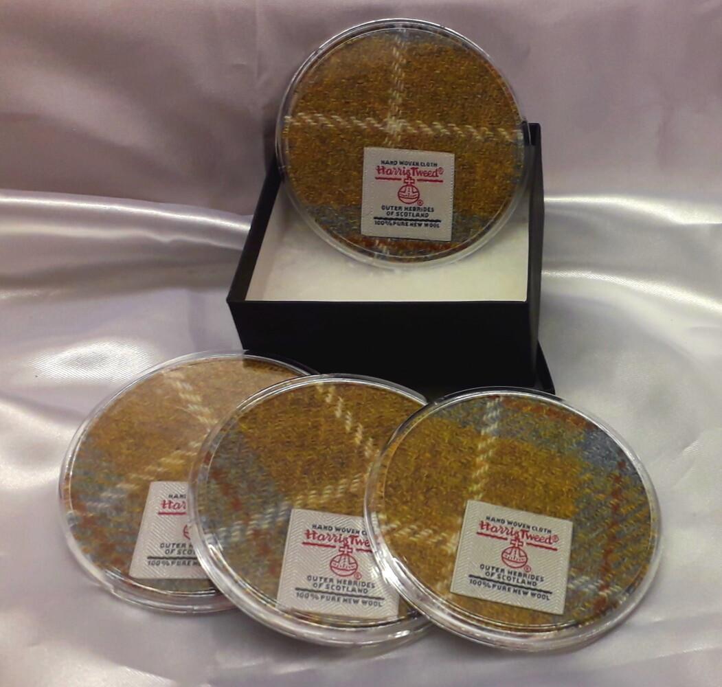 Set of 4 Harris Tweed Coasters - Mustard Check