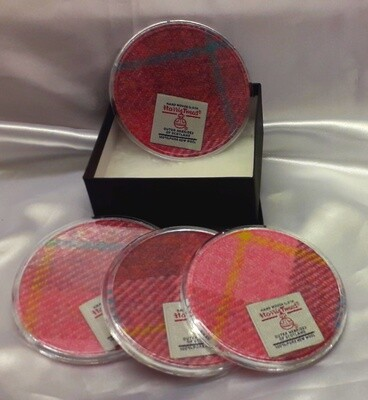 Set of 4 Harris Tweed Coasters - Pink Check