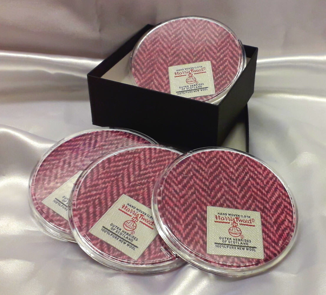 Set of 4 Harris Tweed Coasters - Pink Herringbone