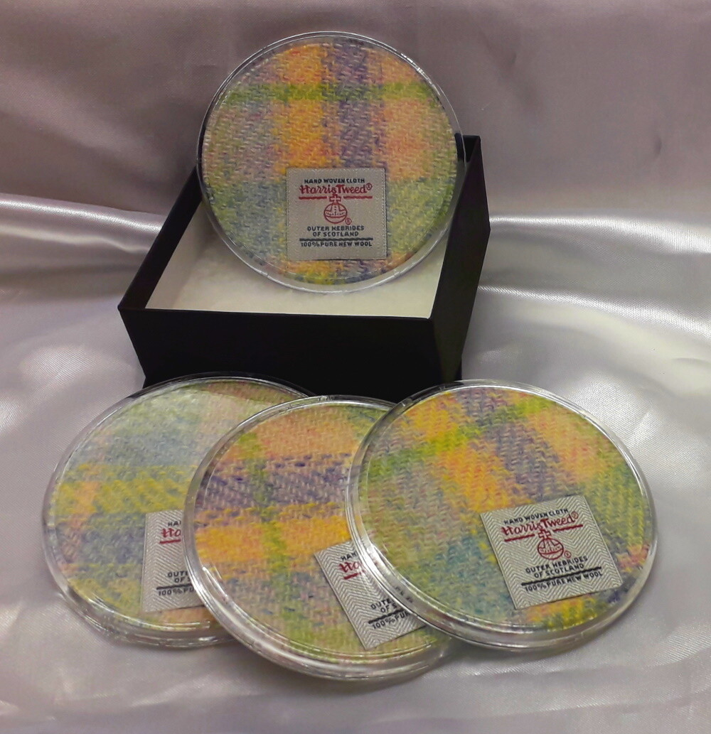 Set of 4 Harris Tweed Coasters - Yellow Check