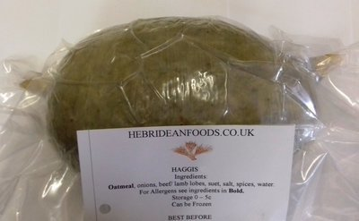 Hebridean Foods Traditional Scottish Natural Skin Haggis Ball 450g Approx