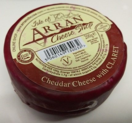 Arran Cheddar Cheese with Claret 200g