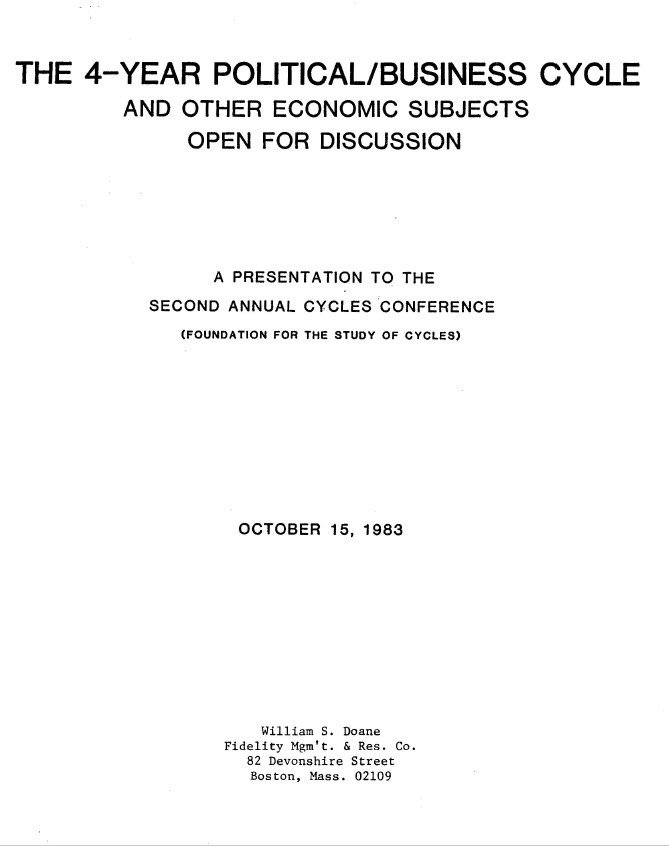 AUGUST 2018 FREEBIE - (REPRINT - 1983) The Four Year Political Cycle and Oil, Gas, and Inflation