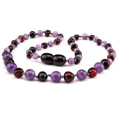 Baltic Pines™ Gemstone & Baltic Amber Teething Necklace - Dark Amber & Amethyst